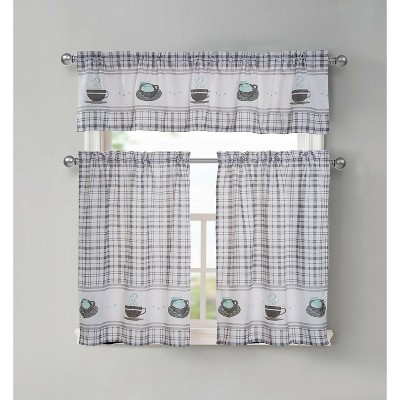 GoodGram Plaid Coffee Time 3 Pc Cafe Kitchen Curtain Tier & Valance Set
