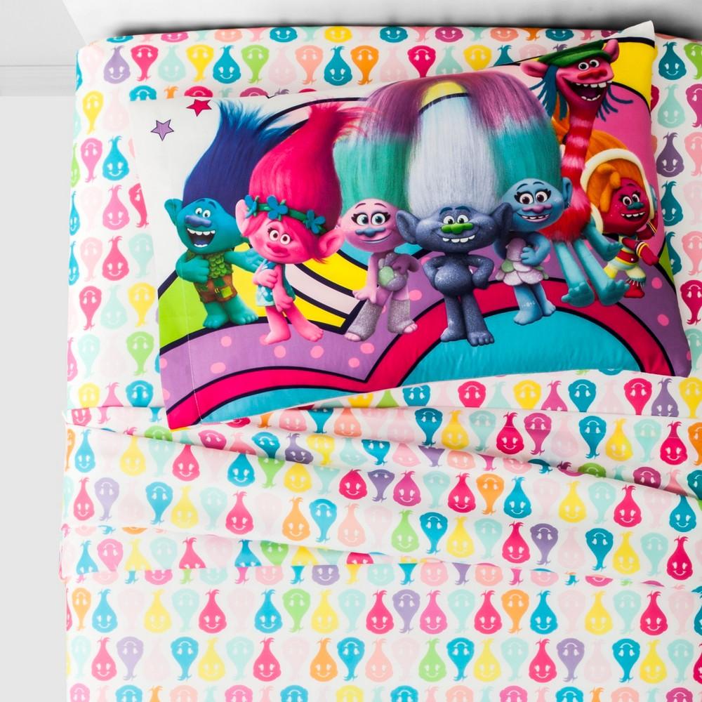 Trolls Twin 3pc Peace and Rainbow Microfiber Sheet Set