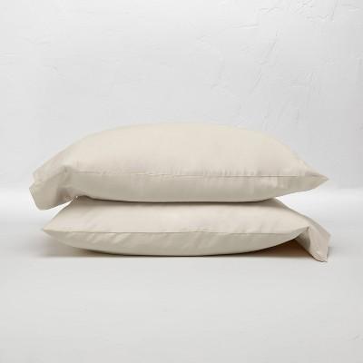 King 300 Thread Count Temperature Regulating Solid Pillowcase Set Natural - Casaluna™