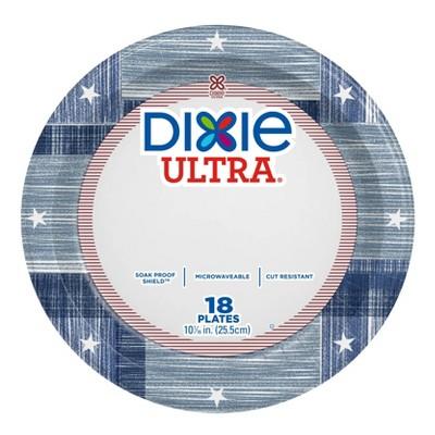 "Dixie Ultra 10"" Blue Patchwork Paper Plates - 18ct"