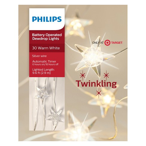 philips 30ct christmas led dewdrop lights battery operated clear stars warm white twinkle target