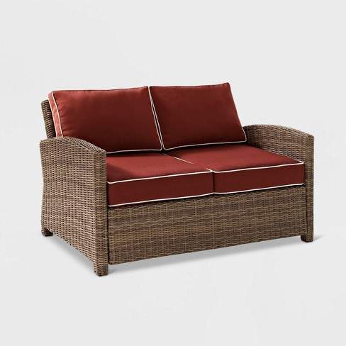 Bradenton Wicker Outdoor Patio Loveseat - Maroon/Brown - Crosley - image 1 of 4