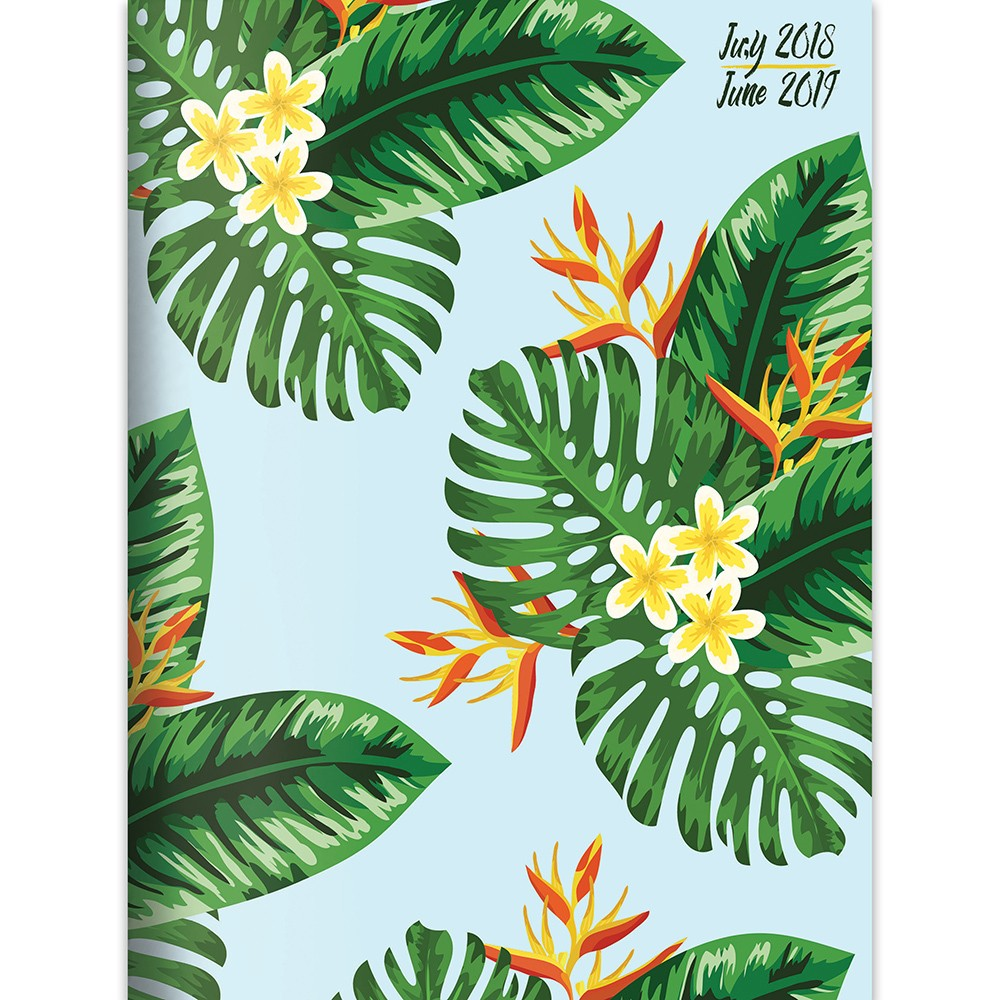 2018 - 2019 Academic Spiral Topical Palm Leaf Monthly Planner, Leaves