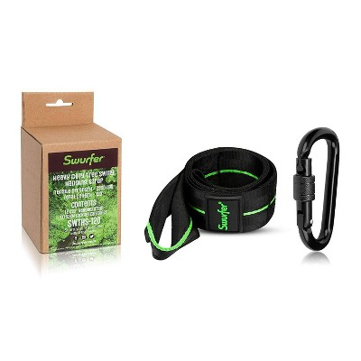 """Flybar Swurfer 120"""" Tree Hanging Strap with Carabiner - Black"""