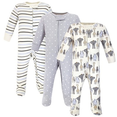 Hudson Baby Infant Boy Cotton Zipper Sleep and Play 3pk, Royal Safari