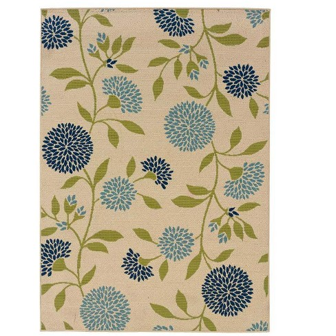 """Floral Indoor / Outdoor Polypropylene Surry Area Rug, 2'5""""x 4'5"""" - Plow & Hearth - image 1 of 2"""