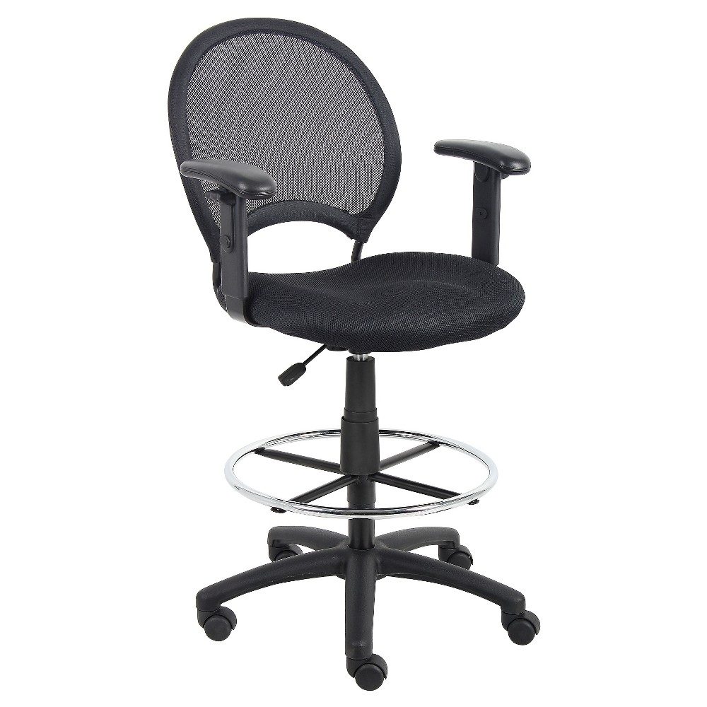 Mesh Drafting Stool with Adjustable Arms Black - Boss Office Products