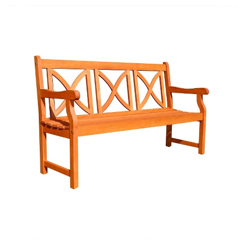 Vifah X-Back Eucalyptus Outdoor Bench - Brown - image 1 of 1