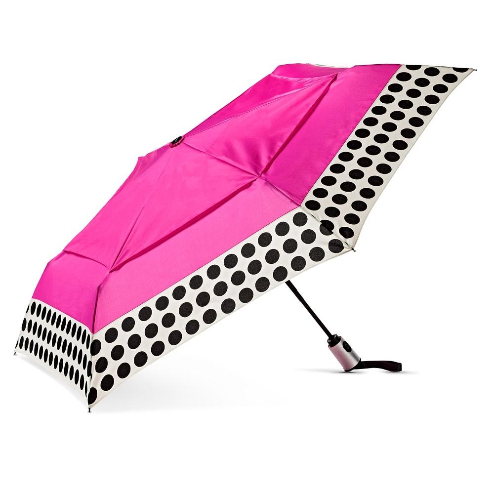 ShedRain Compact Auto Open/Close Air Vent Umbrella - Pink Polka Dot
