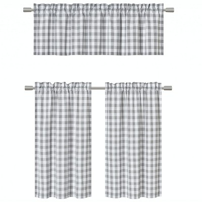 GoodGram Country Plaid Gingham 3 Pc Kitchen Curtain Tier & Valance Set