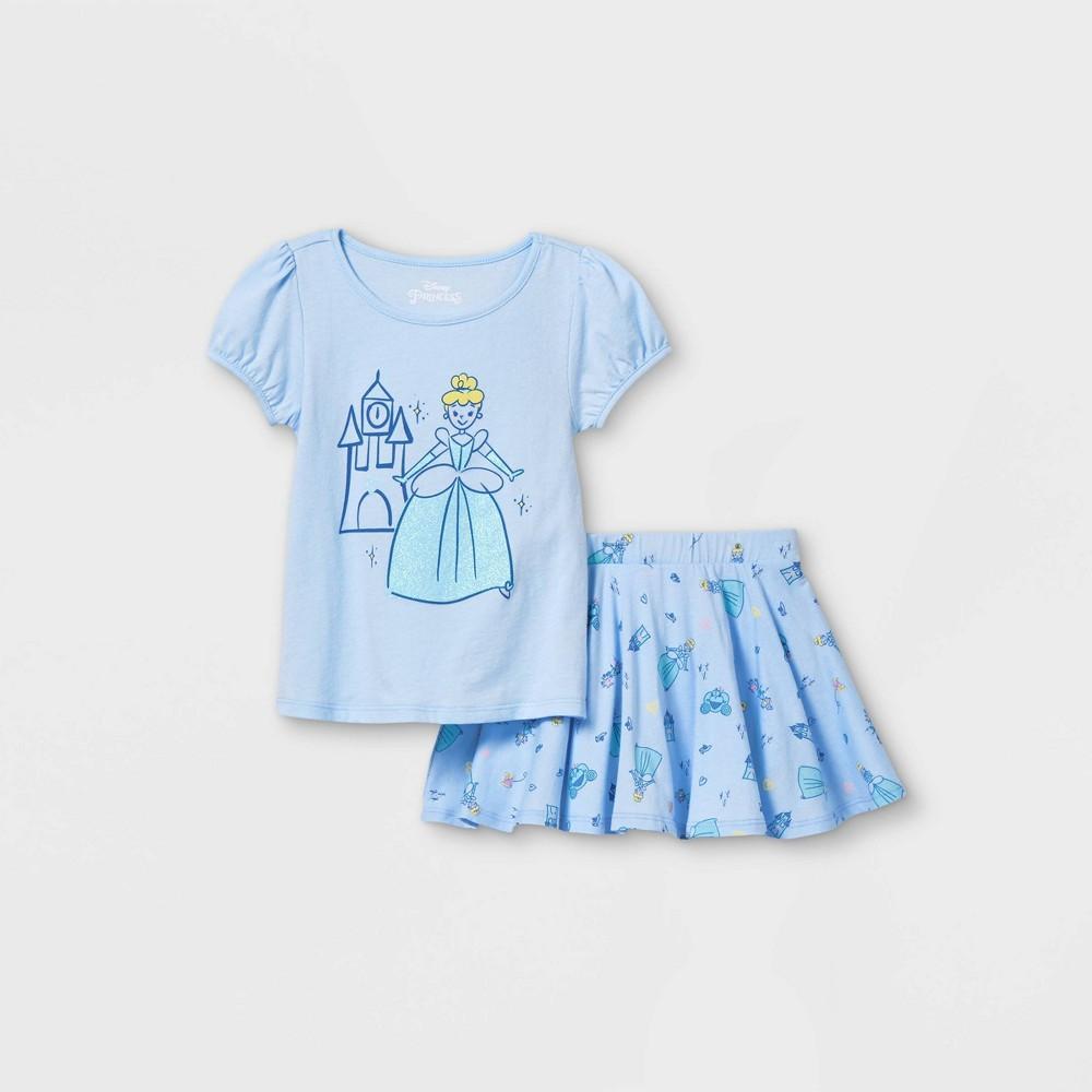 Toddler Girls 39 Disney Princess Cinderella Short Sleeve Top And Bottom Set Blue 4t