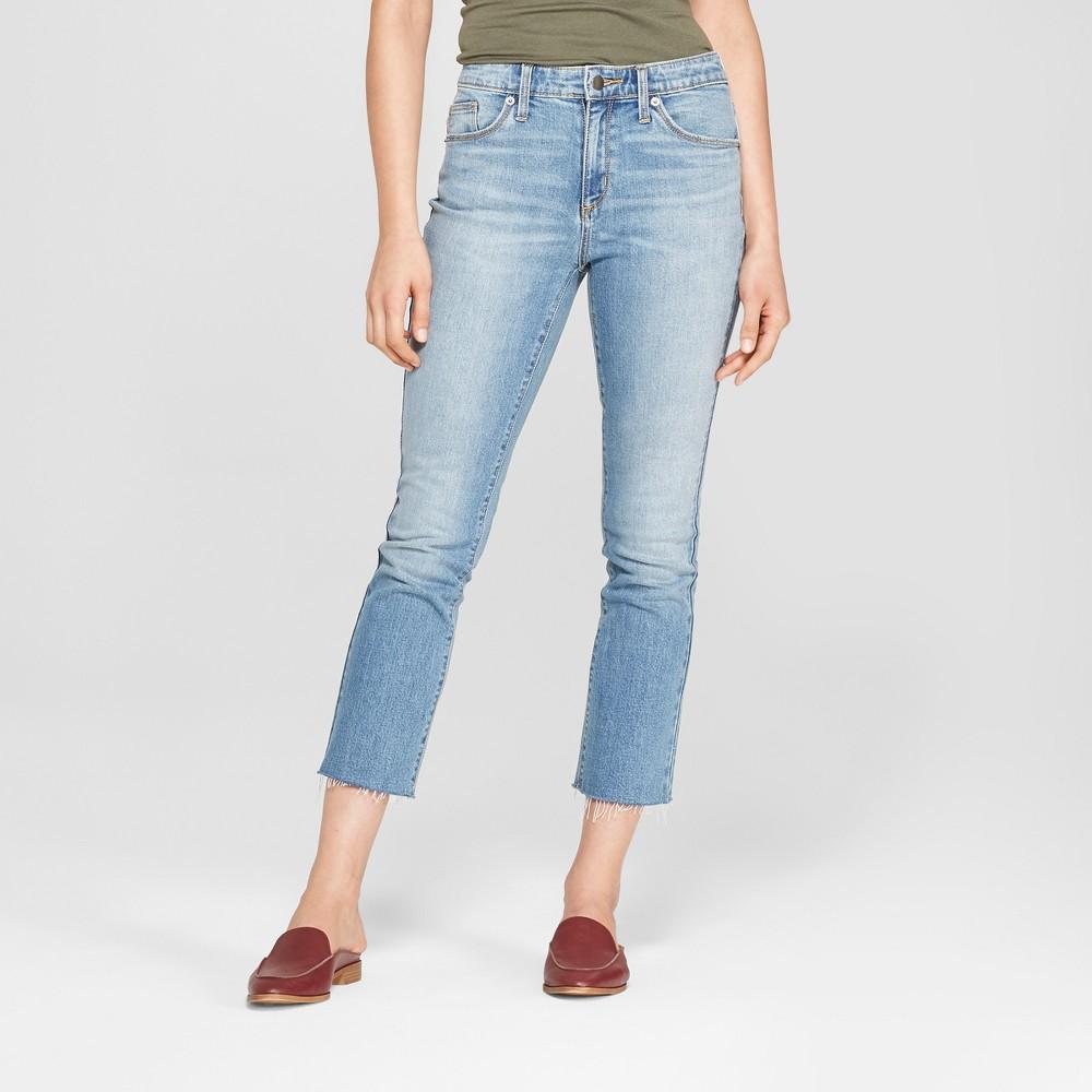 Women's High-Rise Kick Boot Crop Jeans - Universal Thread Light Wash 14, Medium Blue