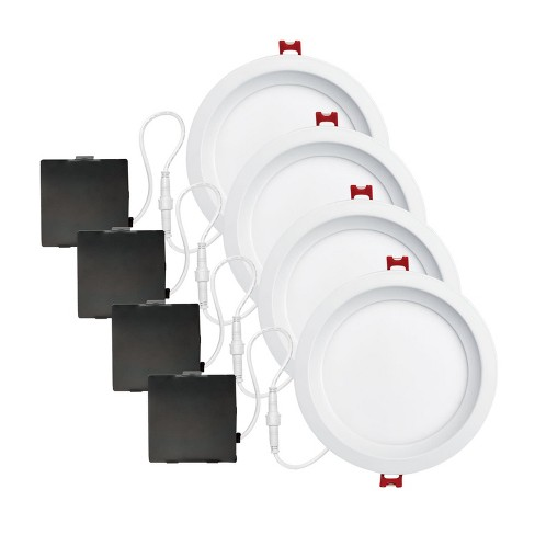 "Globe Electric 91226 Set of 4 Ultra Slim 6"" Integrated LED Recessed Lighting - Dimmable and Insulated Ceiling Rated - image 1 of 1"