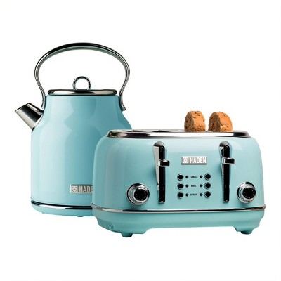 Haden Heritage 4 Slice Wide Slot Stainless Steel Body Retro Toaster & Heritage 1.7 Liter Stainless Steel Body Retro Electric Kettle, Turquoise