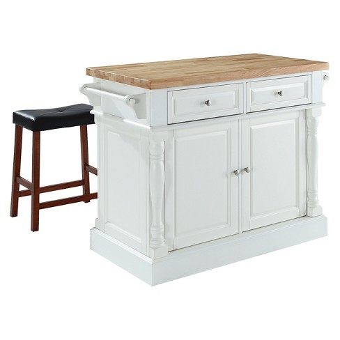 Butcher Block Top Kitchen Island White With 24 Black Upholstered