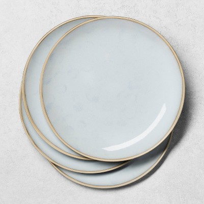 4pk Stoneware Reactive Exposed Rim Dinner Plate Blue - Hearth & Hand™ with Magnolia