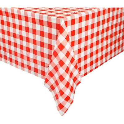 """Blue Panda 3-Pack Red and White Checked Plaid Plastic Tablecloths Gingham Disposable Table Covers, 54x108"""""""