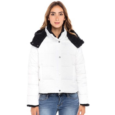 Sebby Collection Women's Puffer Jacket Reversible to Cozy Faux Fur with Hood