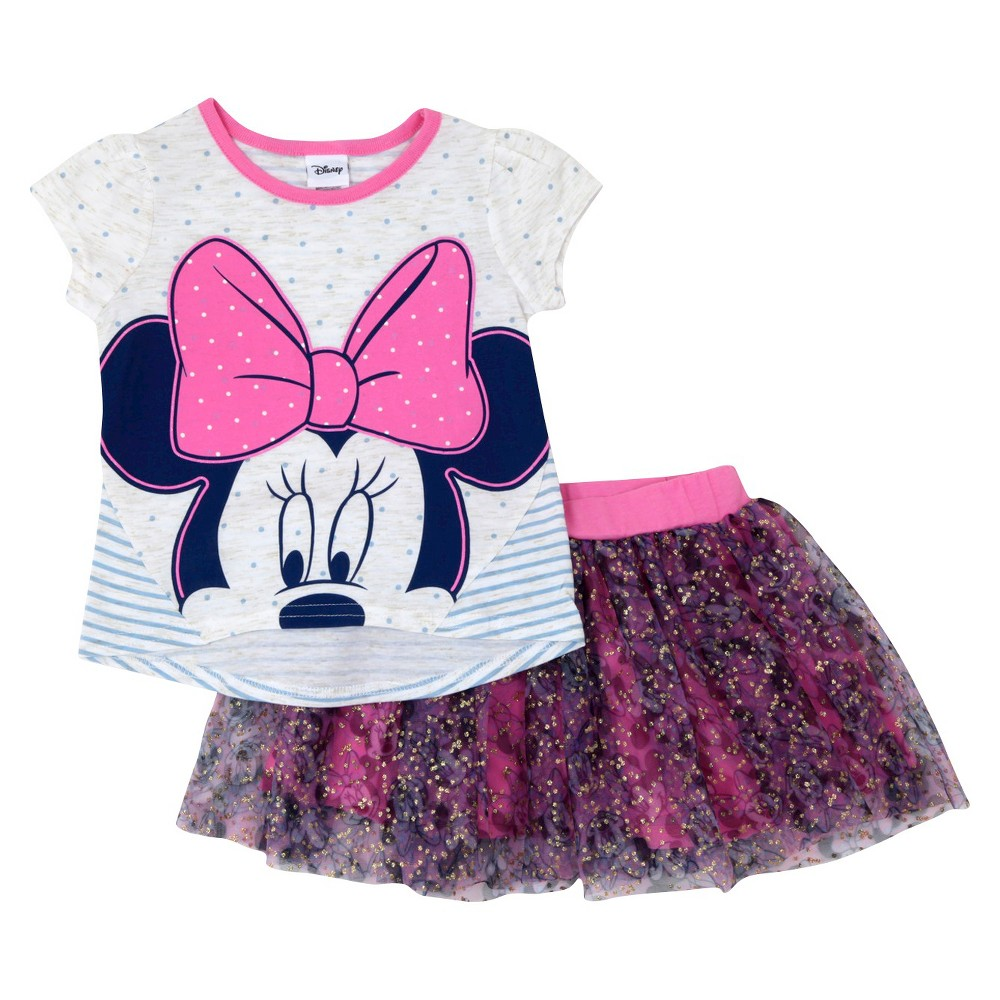 Toddler Girls' Minnie Mouse Top And Bottom Set Disney Pink 3T