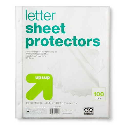 100ct Letter Sheet Protectors Clear - Up&Up™ - image 1 of 2
