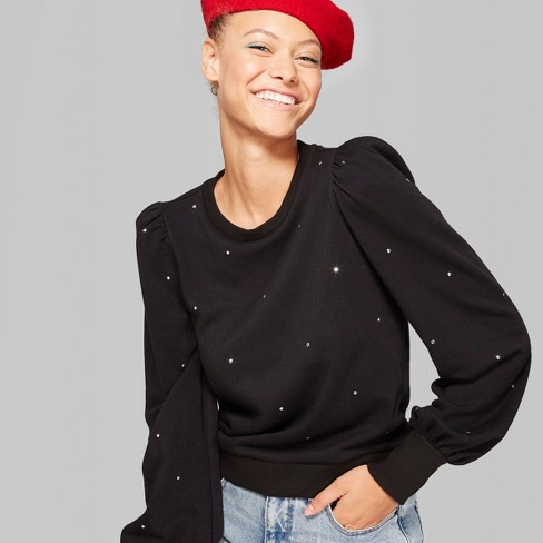 Women's Crewneck Pullover Sweatshirt with Balloon Sleeve - Wild Fable™ Black L - image 1 of 3