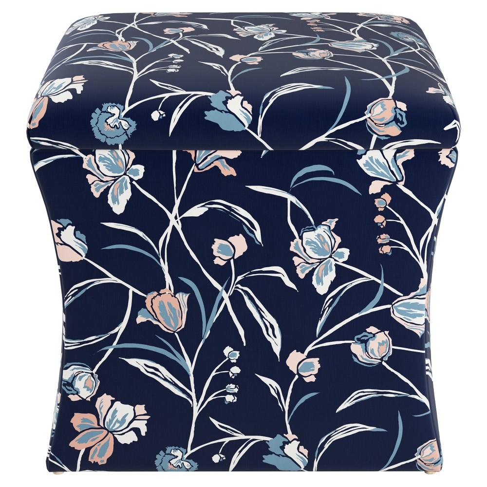 Layla Storage Ottoman Navy Floral - Cloth & Co
