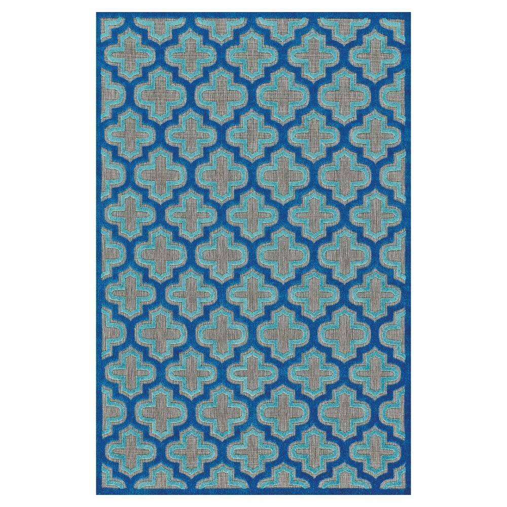 Black/Navy (Black/Blue) Geometric Loomed Round Area Rug - (7'6 Round) - Room Envy