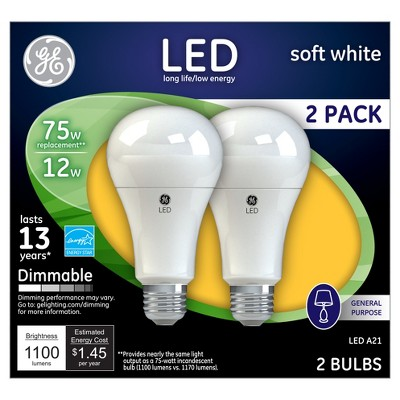 GE LED 75-Watt Light Bulb (2-Pack)- Soft White