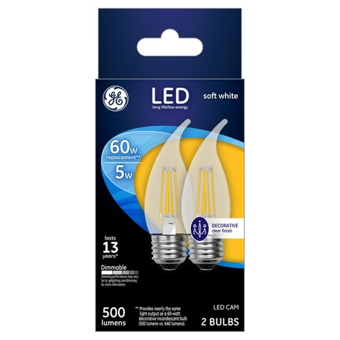 GE LED 60Watt Decorative CAM Light Bulb (2Pk) - Soft White, Clear Bulb - image 1 of 2