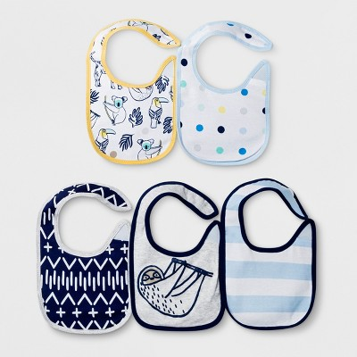 Baby Boys' 5pk Gone Wild Bib Set - Cloud Island™ White
