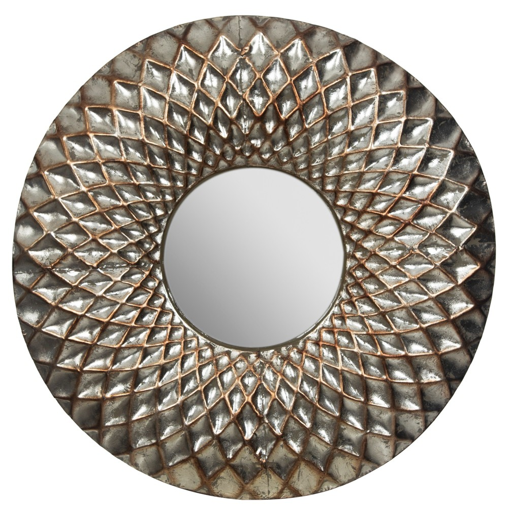 "Image of ""12"""" Hammered Lattice Round Metal Wall Mirror Silver - Gallery Solutions"""