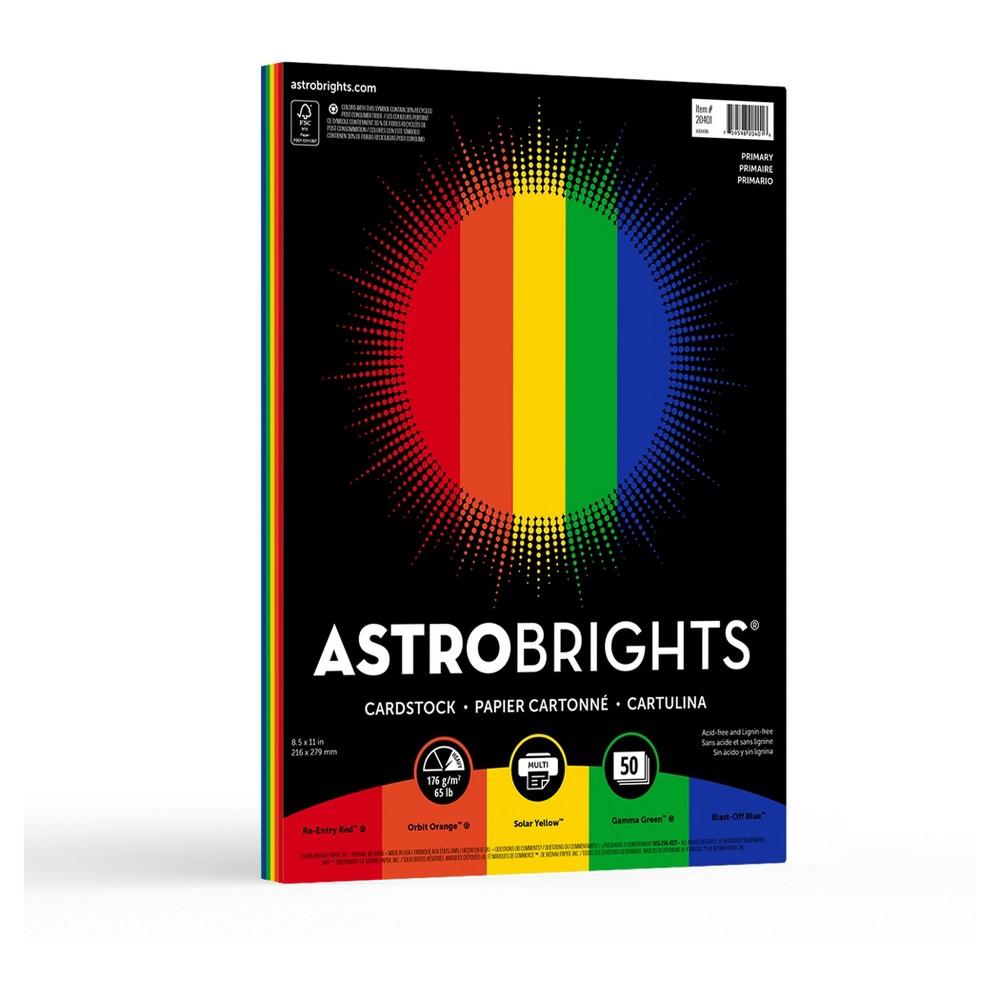 "Image of ""Astrobrights Colored Cardstock, 8.5"""" x 11"""", 65lb/176 gsm, """"Primary"""" 5-Color Assortment, 50 Sheets"""