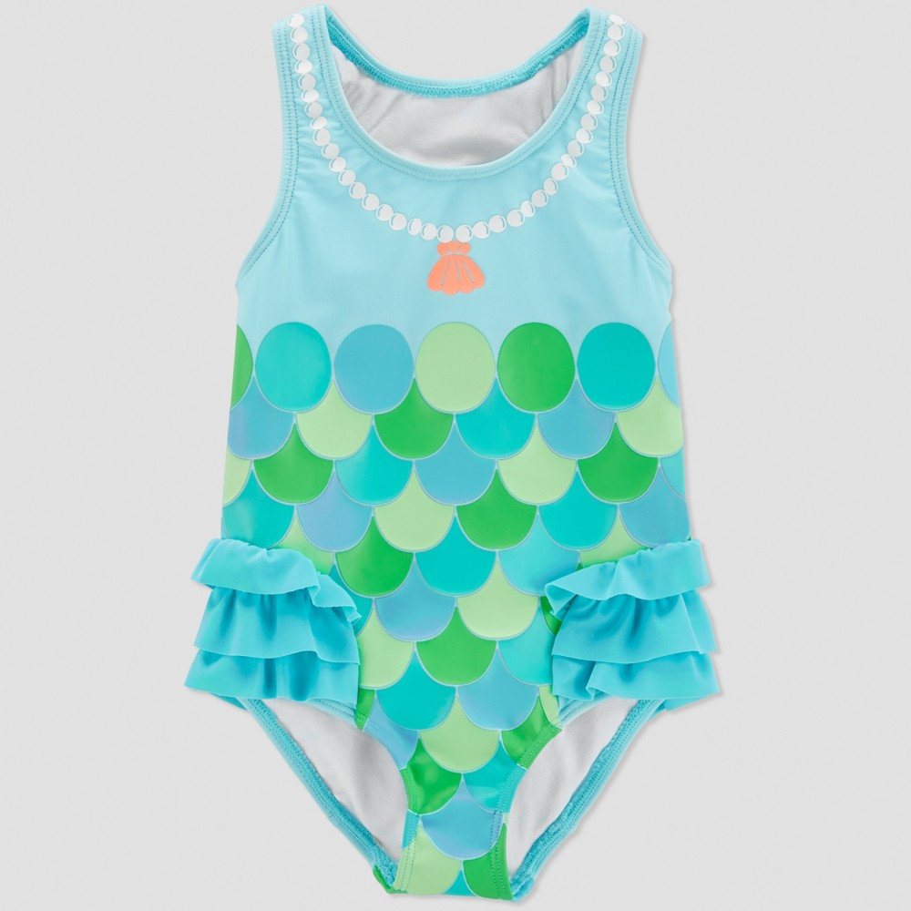 Toddler Girls' Mermaid One Piece Swimsuit - Just One You made by carter's Turquoise 18M, Blue