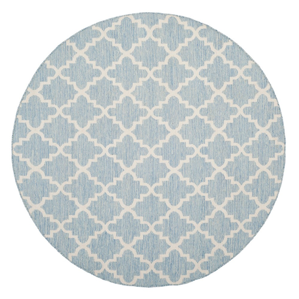 Light Blue/Ivory Abstract Flatweave Woven Round Area Rug - (6') - Safavieh