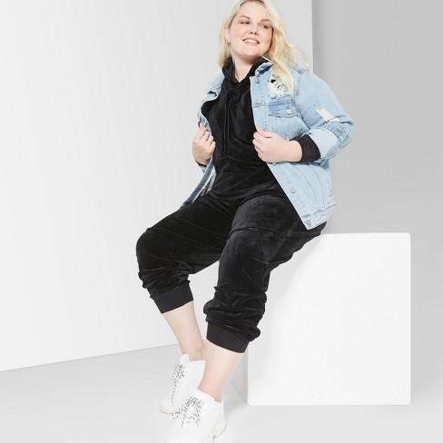 882c9353c0a Women s Plus Size Velour Jogger Pants - Wild Fable™ Black 2X   Target
