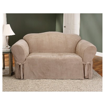 Soft Suede Loveseat Slipcover Taupe - Sure Fit, Brown