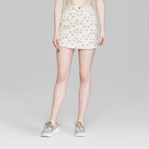 7d3164f16856 Women's Floral Print Mini Jeans Skirt - Wild Fable™ White : Target