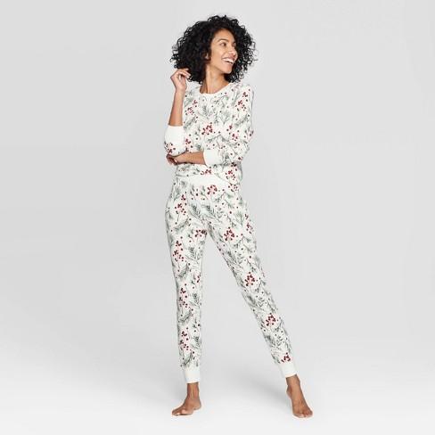 Women's Holly Print Thermal Sleep Pajama Set - Stars Above™ Cream - image 1 of 2