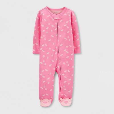 Baby Girls' Pig Interlock Sleep 'N Play 1pc Pajama - Just One You® made by carter's Pink Newborn