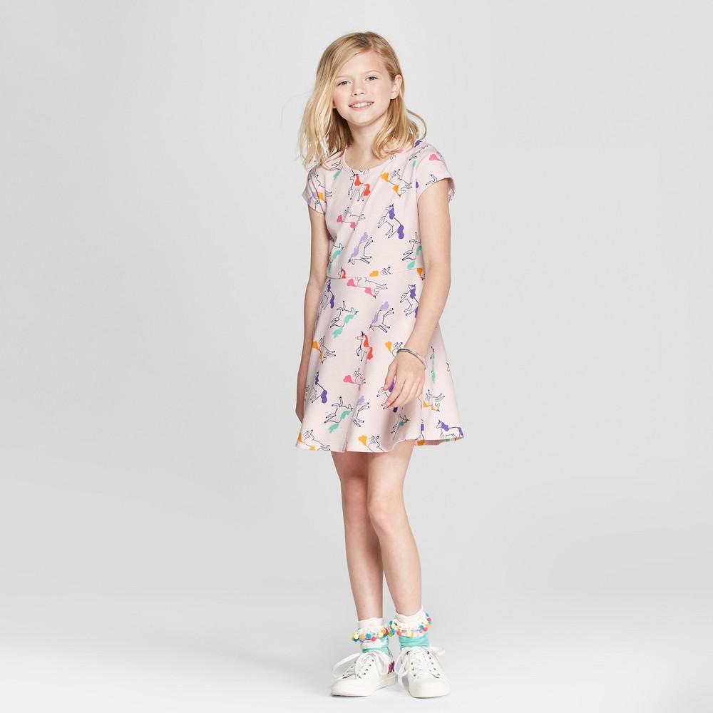 Girls' Short Sleeve Unicorn Dress - Cat & Jack Light Pink M