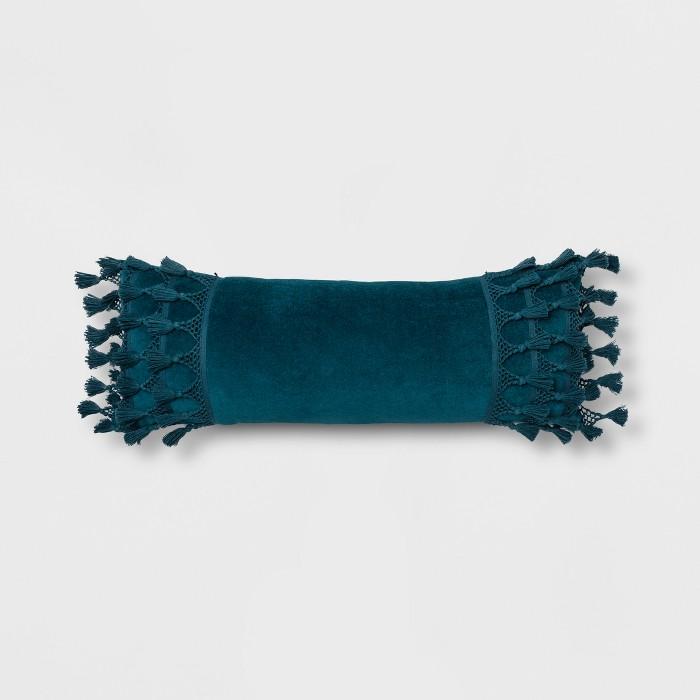 Lace Trim Velvet Oversized Lumbar Pillow Teal - Opalhouse™ - image 1 of 4