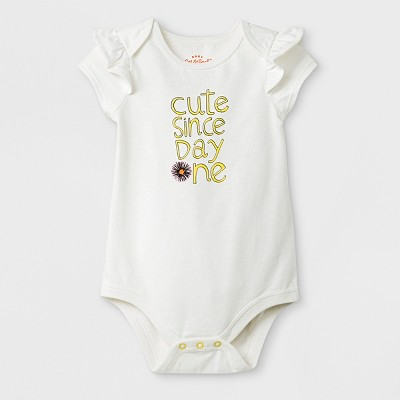 Baby Girls' Short Sleeve  Cute Since Day One  Bodysuit - Cat & Jack™ Almond Cream Newborn