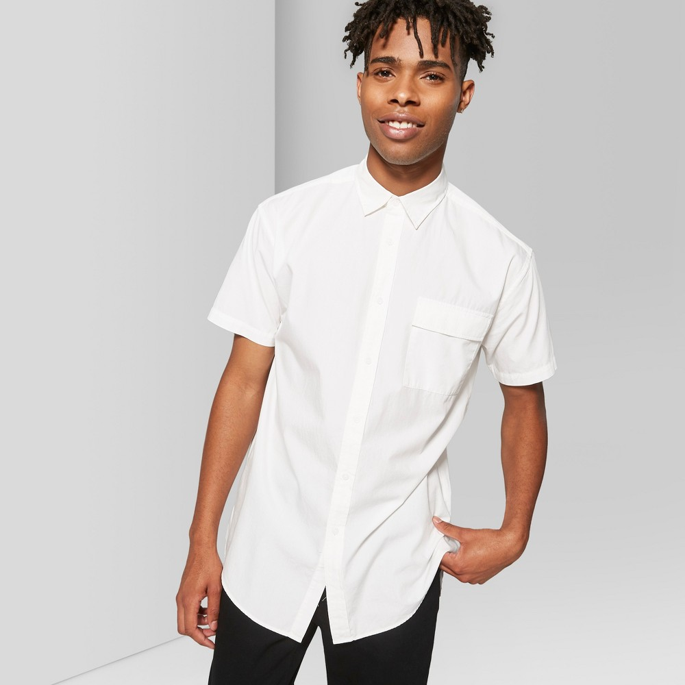 Men's Short Sleeve Long Line Button-Down Shirt - Original Use White 2XL