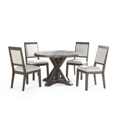48 5pc Molly Round Dining Set Gray, Round Dining Room Table And Chairs