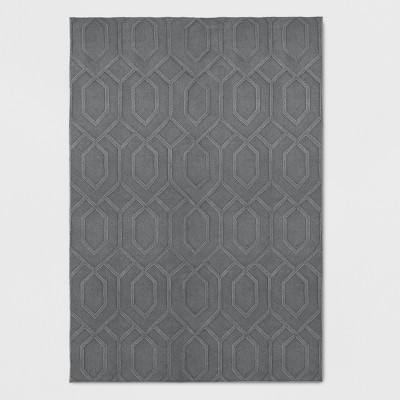 5'X7' Wool Carved Tufted Area Rug Gray - Project 62™