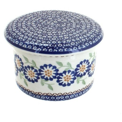 Blue Rose Polish Pottery Peach Blossom French Butter Dish
