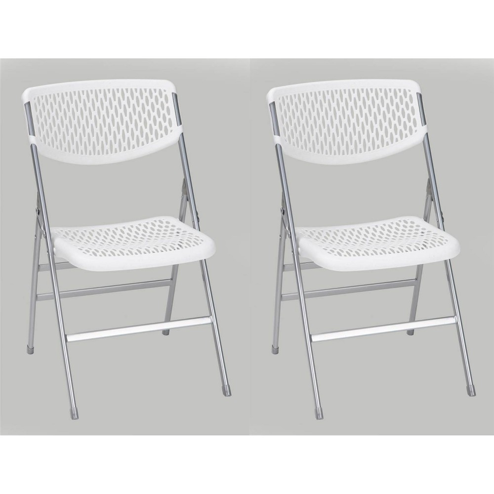 Image of Cosco 2pk Commercial Resin Mesh Folding Chair White