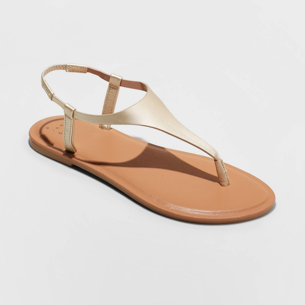 Women's Norah T-Strap Naked Sandals - A New Day Gold 8.5