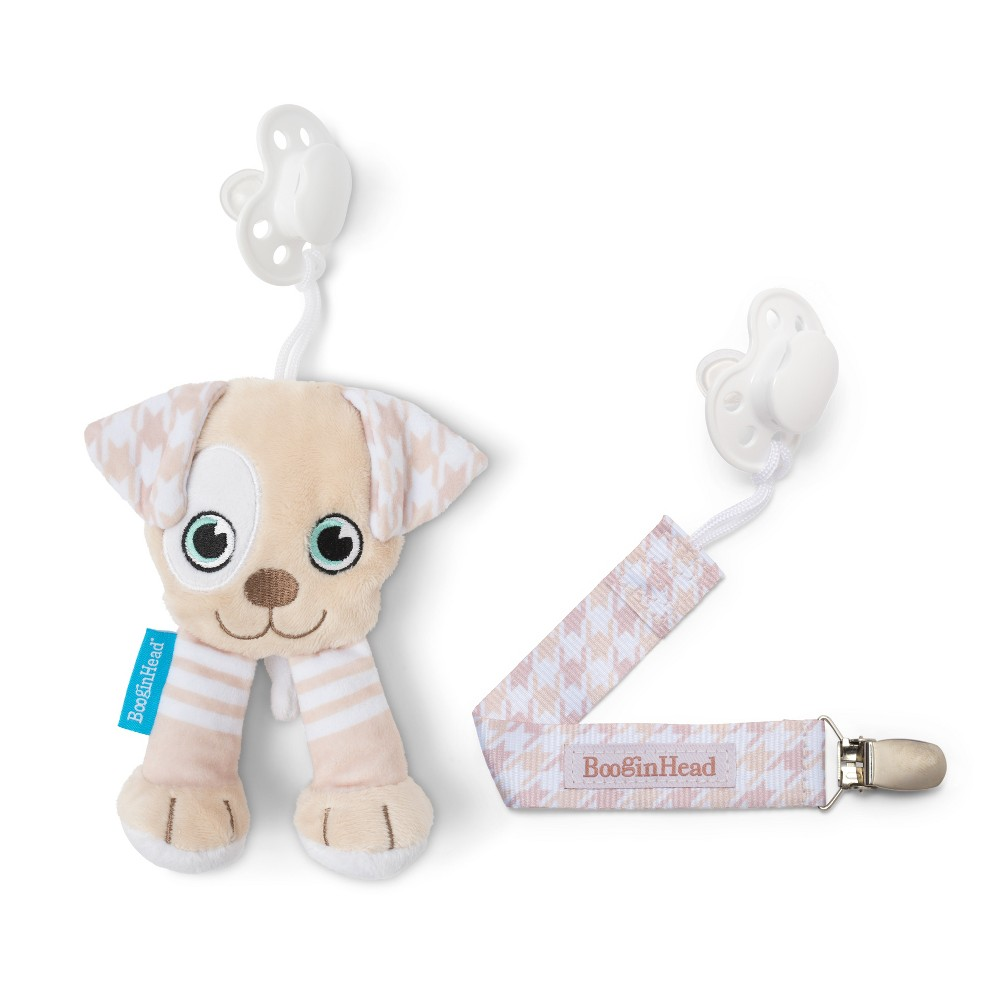 Image of BooginHead Plush PaciPal / PaciGrip Pacifier Clip Pacifier Holder Set - 2pc Puppy, Beige