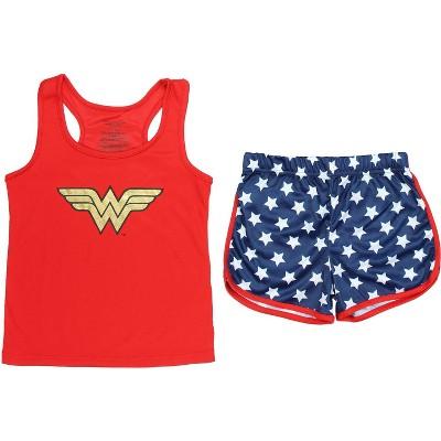 Wonder Woman Big Girls Logo Mesh Tank & Shorts PJ Set